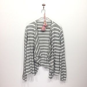 J. Crew Factory gray white stripe open cardigan XL